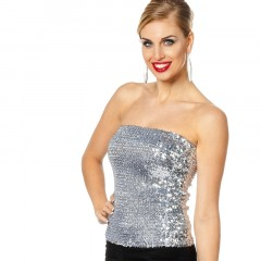 Top/rok pailletten zilver